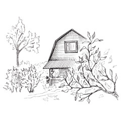 Rural landscape sketch. Hand drawn landscape with village house and trees. Sketch style illustration. Isolated on white