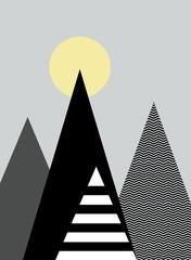 Obraz Góry ilustracja - fototapety do salonu