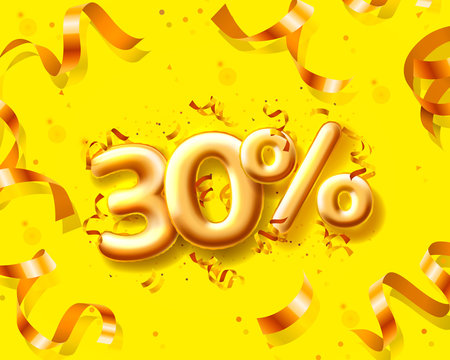 Sale 30 off ballon number on the yellow background.
