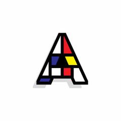 Piet Monderiaan Vector Logo Letter A. A Retro De Stijl Mondrian Letter Design Vector
