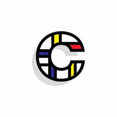 Piet Monderiaan Vector Logo Letter C. C Retro De Stijl Mondrian Letter Design Vector