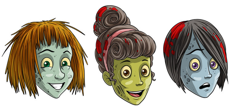 Cartoon colorful smiling funny green dead zombie monsters girl characters with blood on hair. Isolated on white background. Halloween vector icon set.
