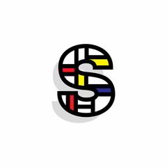 Vector Letter Mondrian Retro Design S