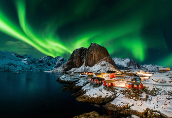 Aluminium Prints Northern lights Aurora borealis over Hamnoy in Norway