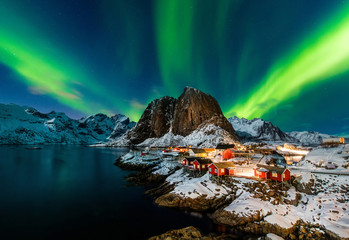 Aurora borealis over Hamnoy in Norway Wall mural