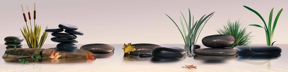 Wandbild mit Gräser, Schmucksteine, Herbstblätter  und Wasser
