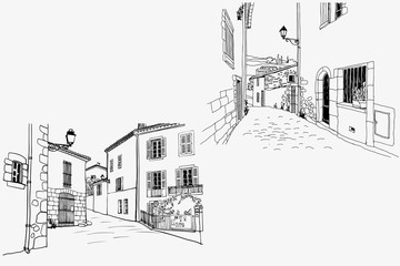 Two pictures with nice old streets in romantic Provence, France. Urban sketches