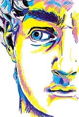 Rzeźba grecka młody człowiek. Odnowa posągu greckiego, słynna rzeźba Markery do rysowania, pop-art. Stylowy plakat. - 289497555