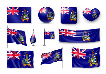 Various flags of South Georgia islands