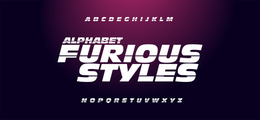 Typography fast and furious style fonts for movie technology, sport, motorcycle, racing logo design. Sport Modern Italic Alphabet Font. illustration - Vector.