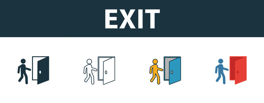 Exit icon. Thin line outline style from shopping center sign icons collection. Premium exit icon for design, apps, software and more