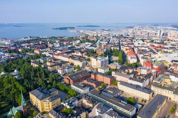 Fototapeta Helsinki, Finland. City center aerial view. Church of john, From Drone