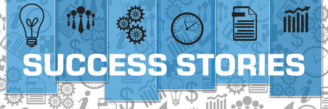 Success Stories Business Symbols Grey Texture Blue Stripes
