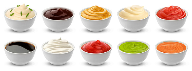 Collection of different sauces isolated on white background with clipping path