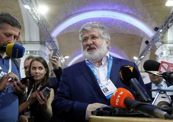 Ukrainian business tycoon Kolomoisky speaks with journalists in Kiev