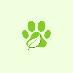 Paw Pet Leaf Naturally Vector Logo