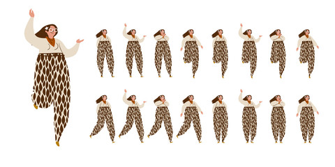 Girl dances. Big set of characters in various positions. Happy long-haired woman with in speckled trousers in Scandinavian style stays, dances, walks. Vector illustration EPS10 isolated on white