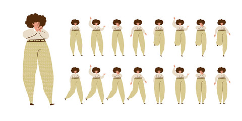 Girl dances. Big set of characters in various positions. Happy woman with dark curly hair in Scandinavian style stays, dances, walks, jumps. Isolated vector illustration EPS10 on white