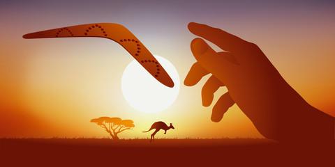 Concept de l'agilité, avec le bras d'un arborigène qui lance un boomerang dans un paysage désertique australien où cours un kangourou.