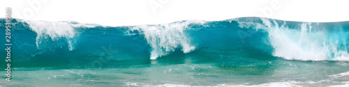 Wall mural Powerful ocean waves with white foam isolated on a white background. Banner format.