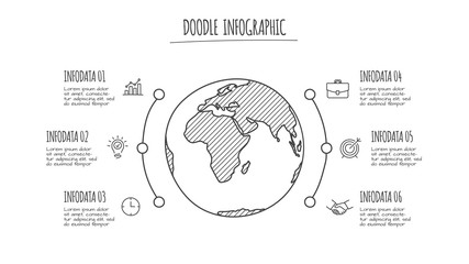 Doodle globe infographic with 6 options. Hand drawn icons. Thin line earth illustration