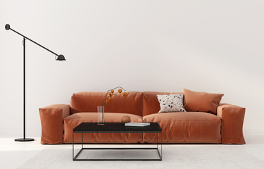 Living room with terracotta sofa