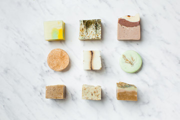 top view of various solid handmaded soap