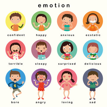 Variety of emotions children, kids face with different expressions. vector, illustration