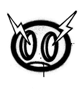 graffiti angry icon sprayed in black over white