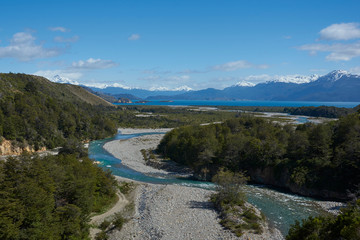 Rio los Maintenes flowing into the clear blue waters of Lago General Carrera in northern Patagonia, Chile