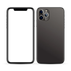 black smartphone with a blank screen and three cameras on a white background
