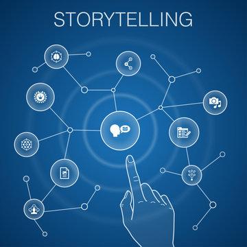 storytelling concept, blue background.content, viral, blog, emotion icons