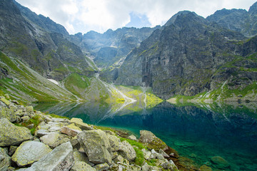 Black pond under Rysy mountain in Tatra mountains, Poland