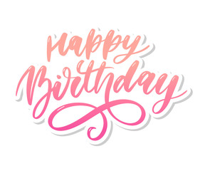 Happy Birthday lettering calligraphy brush gradient sticker vector