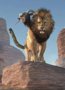 In Greek mythology the chimera was a monster that was a mix of lion goat and snake and lived in Lycia in Asia Minor. Chimera now means anything cobbled together. 3D Rendering