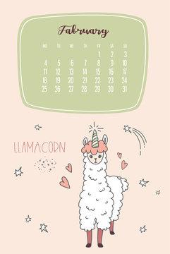 Calendar for February 2020 from Monday to Sunday. Cute llama like unicorn -llamacorn.