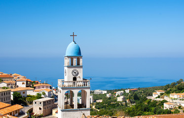 view on old church in Dhermi on albanian riviera, Albania