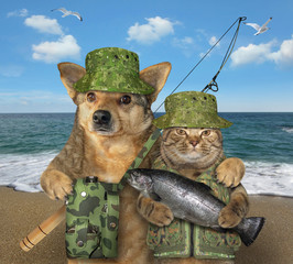 The dog fisher is hugging the cat with a caught fish after the fishing on the seashore.