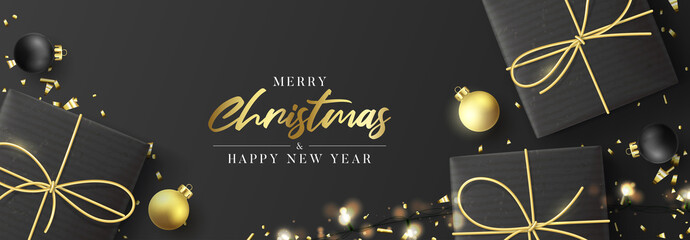 Merry Christmas and Happy New Year horizontal banner. Holiday background with realistic black gift boxes, sparkling light garlands. Vector illustration with Christmas balls and golden confetti.