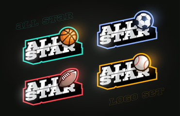 All star Retro style sport logo set. Modern professional Typography Basketball, Soccer, Football, rugby, baseball emblem text logotype. Design emblem for clothes, card, badge banner, stickers, print.