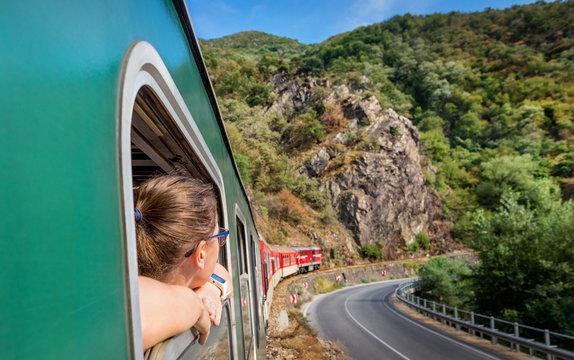 red retro train in Bulgaria mountains