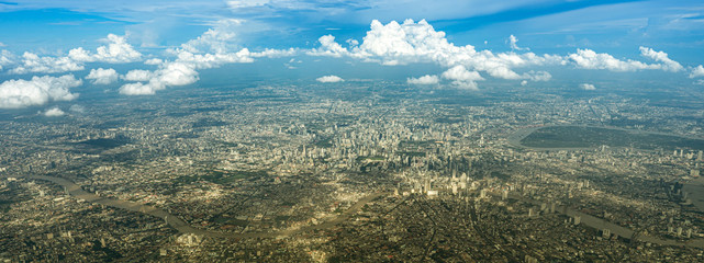 bangkok city view take picture from plane