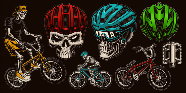 Set of colorful vector illustrations for bicycle theme.