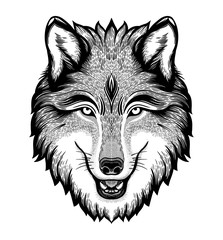The head of a wolf. Dreamy magic art. Night, nature, wicca symbol. Isolated vector illustration. Great outdoors, tattoo design.