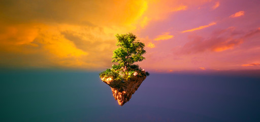 Fantasy floating island with forest isolated sunset sky view 3D illustration Fototapete