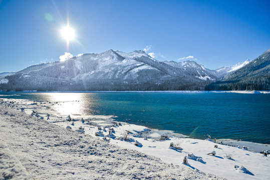 Cascade Mountain By Keechenus Lake And The Surrounding field is covered With Ice Cold White Snow, Snoqualmie Pass, Washington, United States.