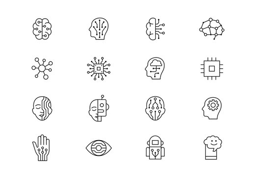 Artificial Intelligence thin line vector icons. Editable stroke