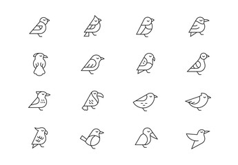 Birds thin line vector icons. Editable stroke Wall mural