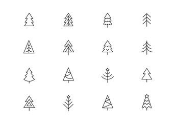 Christmas trees thin line vector icons. Editable stroke