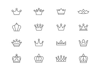 Crown thin line vector icons. Editable stroke